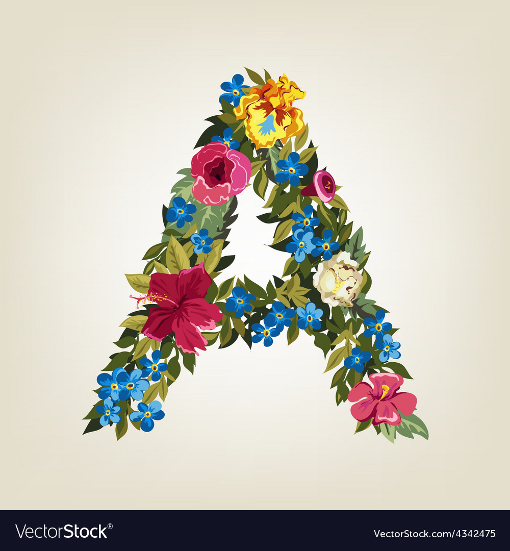 A letter flower capital alphabet colorful font vector | Price: 1 Credit (USD $1)