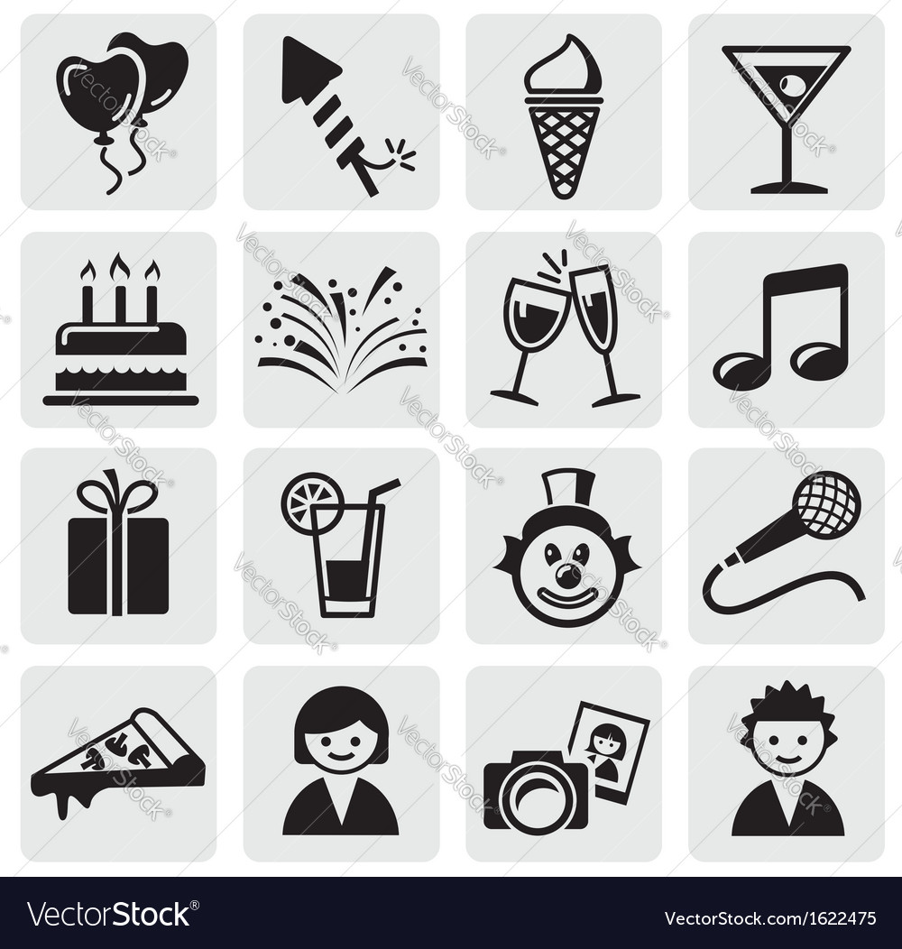 Birthday icons set vector | Price: 1 Credit (USD $1)