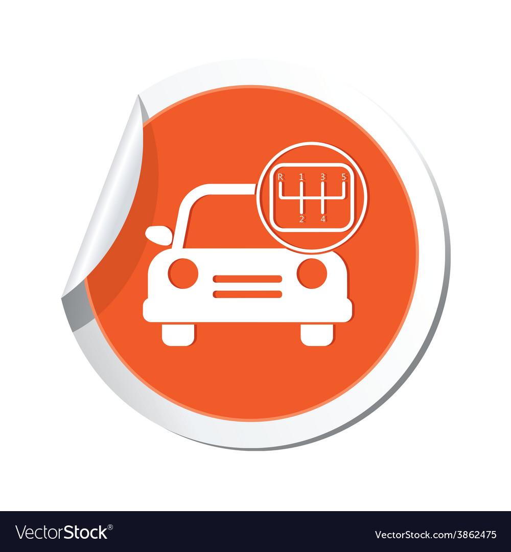 Cars transmission orange label vector | Price: 1 Credit (USD $1)