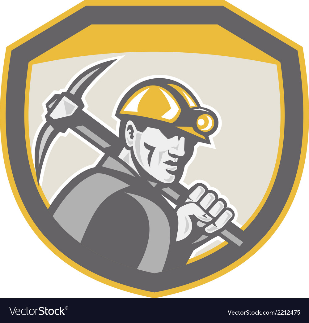 Coal miner hardhat holding pick axe shield retro vector | Price: 1 Credit (USD $1)