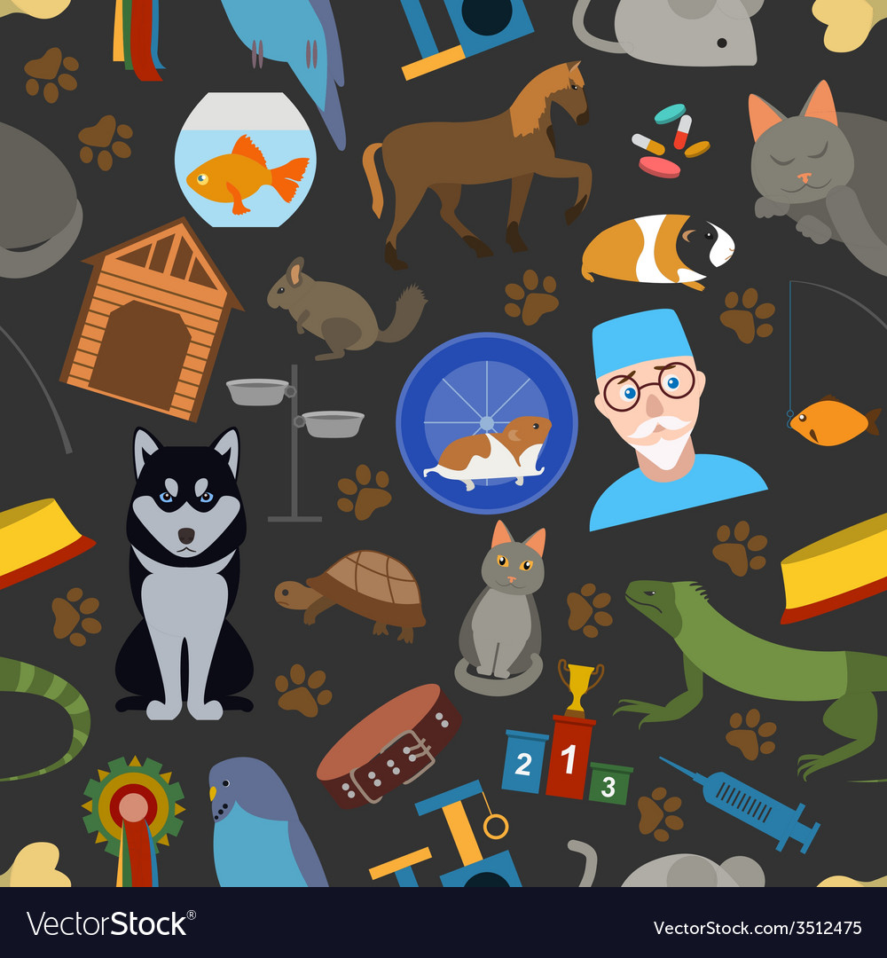 Domestic pets background pattern seamless vector | Price: 1 Credit (USD $1)