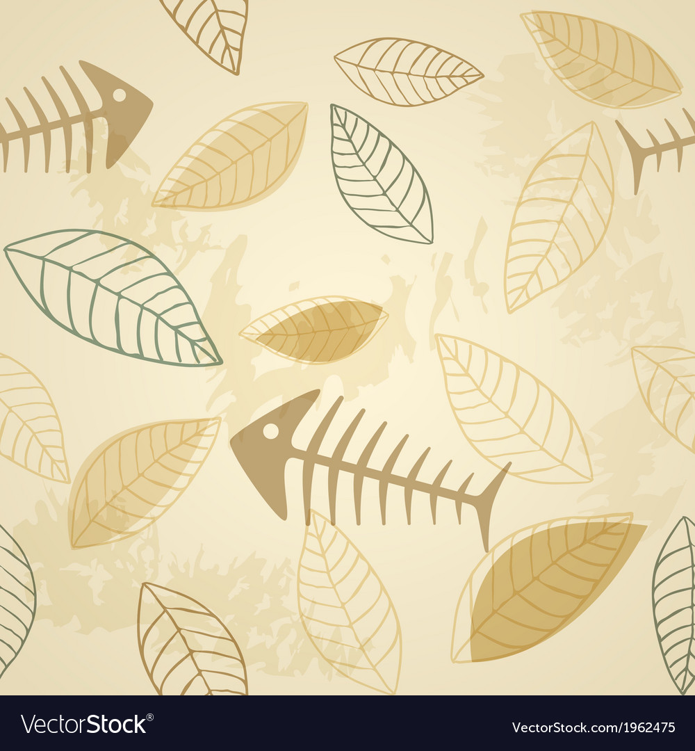 Fish and plant seamless pattern vector | Price: 1 Credit (USD $1)