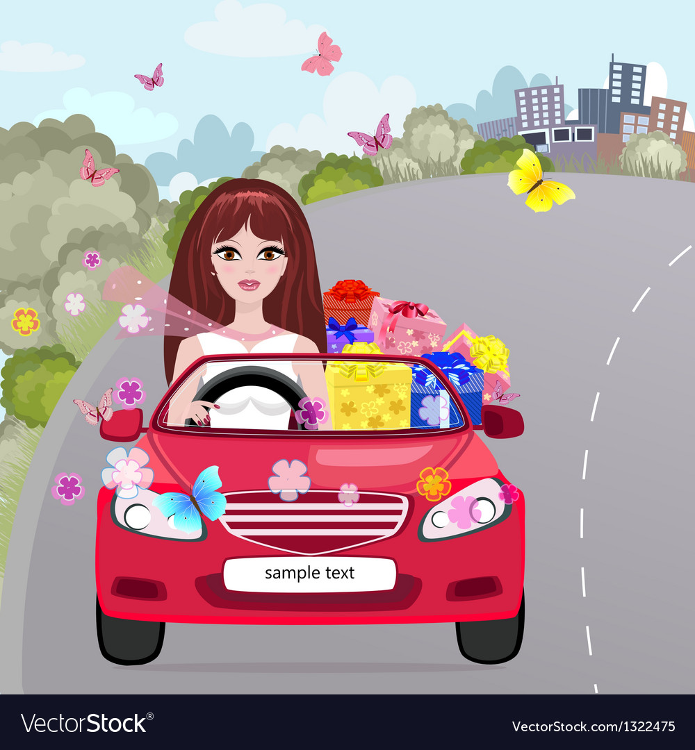 Gifting girl convertible vector | Price: 1 Credit (USD $1)