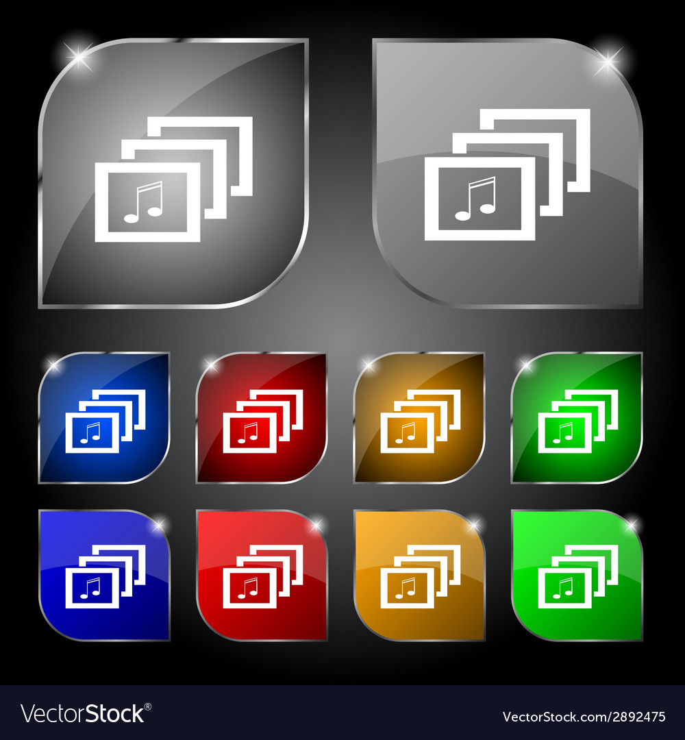 Mp3 music format sign icon musical symbol set vector | Price: 1 Credit (USD $1)