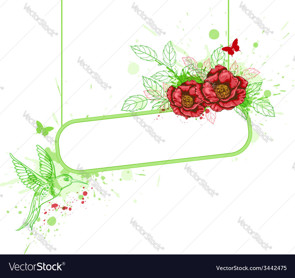 Red flowers and bird vector | Price: 1 Credit (USD $1)