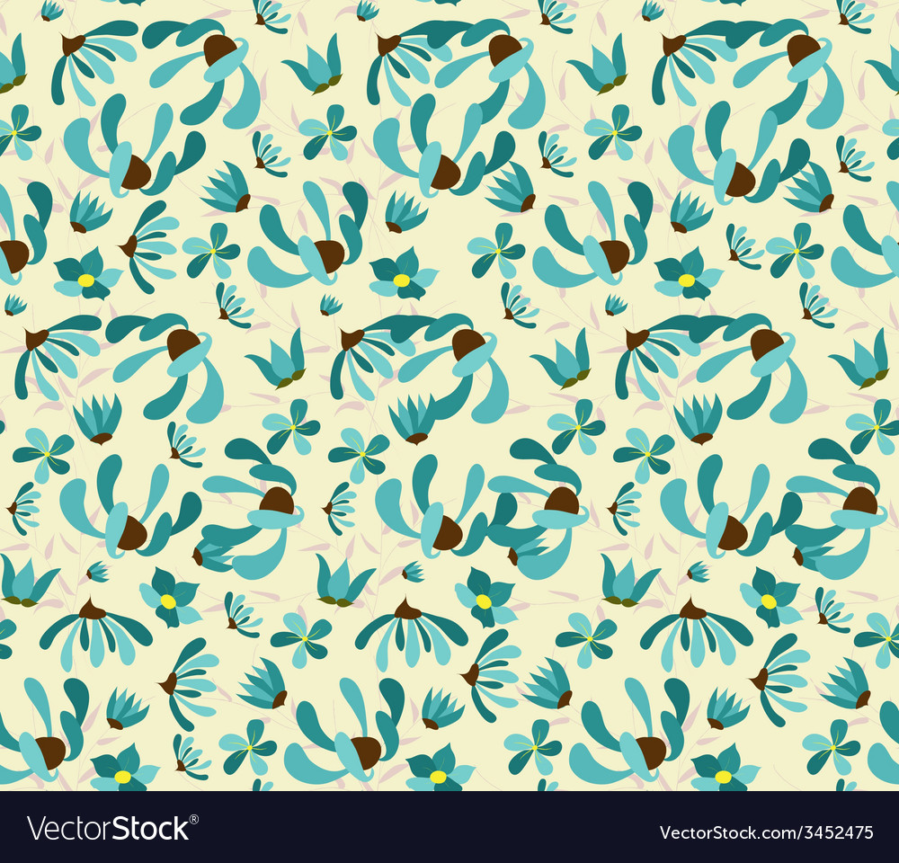 Vintage seamless pattern with abstract flowers vector | Price: 1 Credit (USD $1)