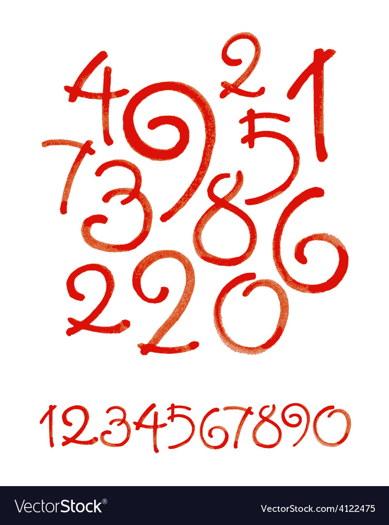 Watercolor hand written orange numbers vector | Price: 1 Credit (USD $1)