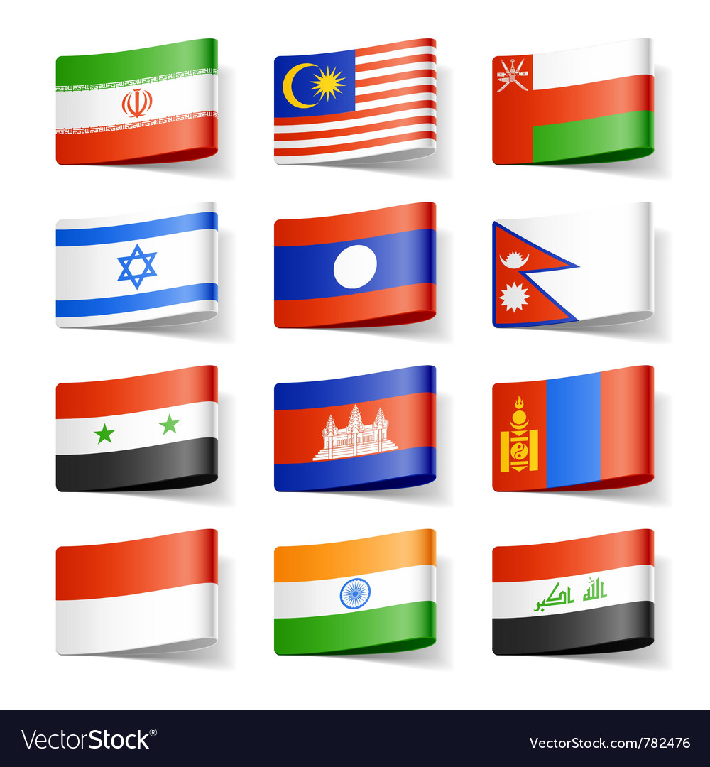 Asia flags vector | Price: 1 Credit (USD $1)