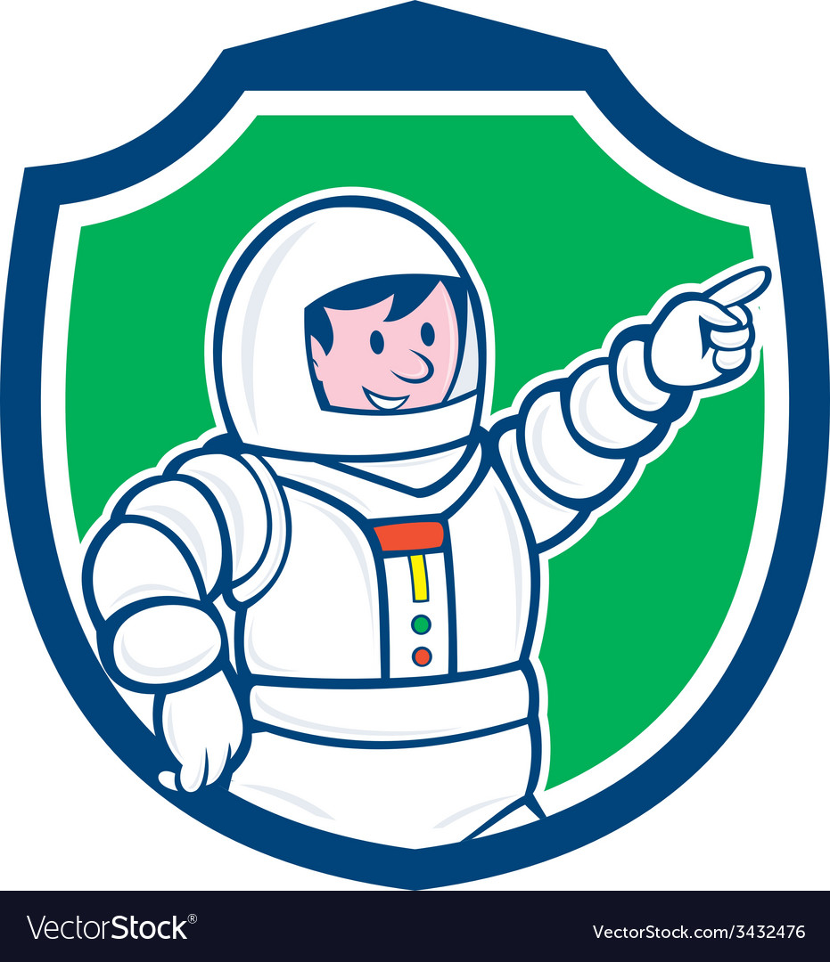 Astronaut pointing front shield cartoon vector   Price: 1 Credit (USD $1)