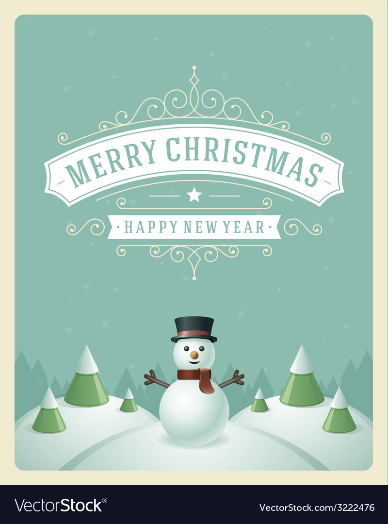 Christmas retro typographic and ornament vector | Price: 1 Credit (USD $1)