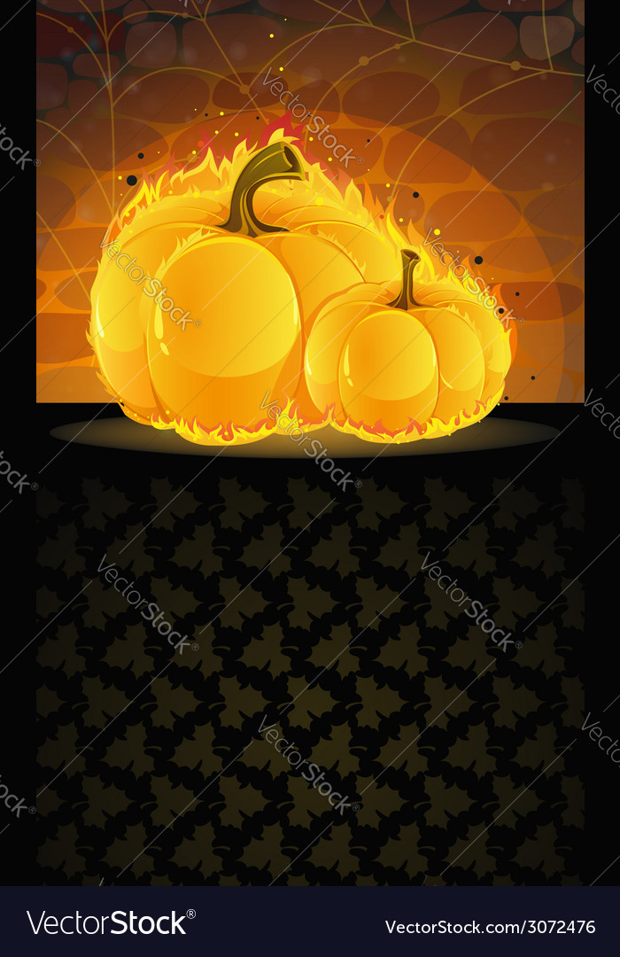Dark dungeon and burning pumpkins vector | Price: 1 Credit (USD $1)