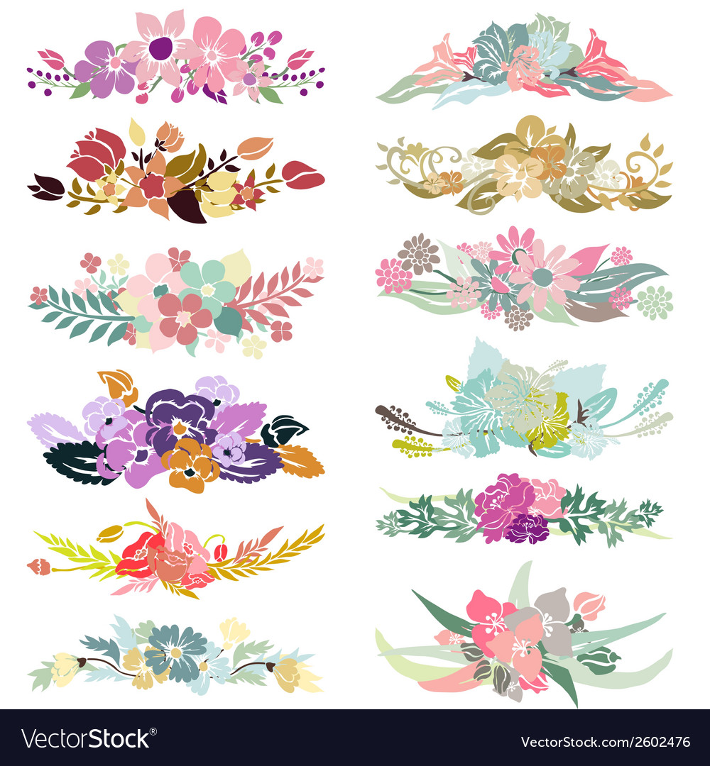 Floral bouquets set vector | Price: 1 Credit (USD $1)