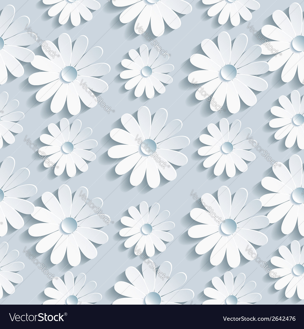 Floral seamless pattern with white chamomile vector | Price: 1 Credit (USD $1)