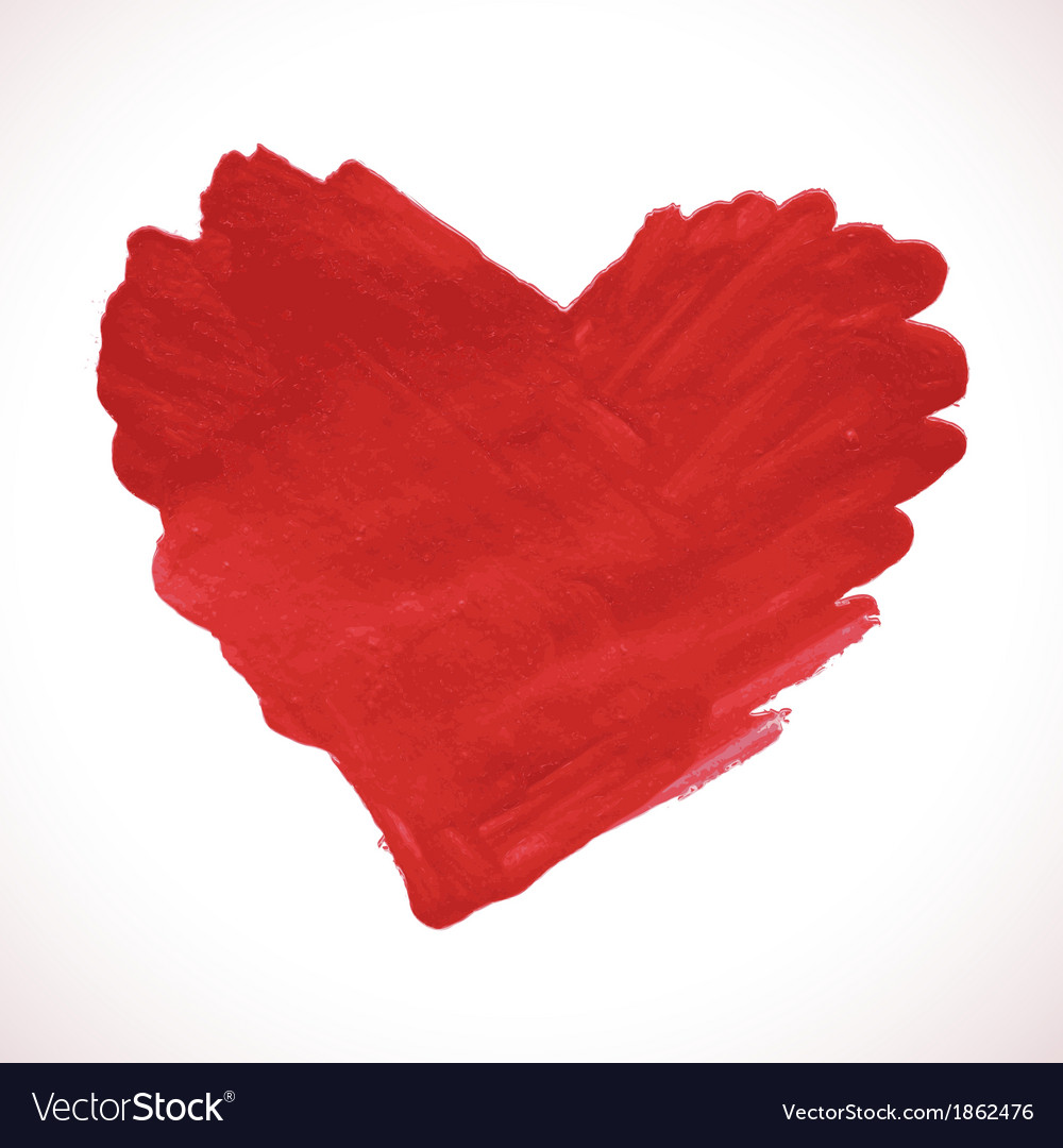 Hand-drawn painted red heart element vector | Price: 1 Credit (USD $1)