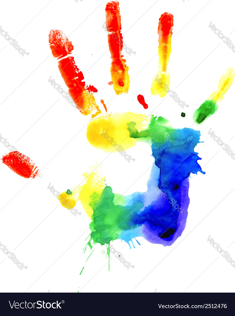 Handprint in vibrant colors of the rainbow vector   Price: 1 Credit (USD $1)