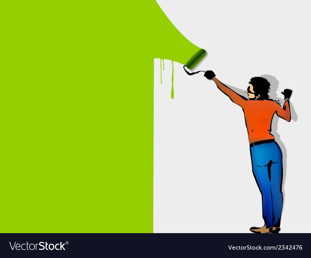 Man paints the wall by roller vector | Price: 1 Credit (USD $1)