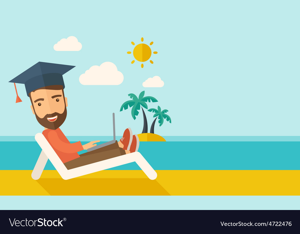 Man with laptop on the beach vector | Price: 1 Credit (USD $1)