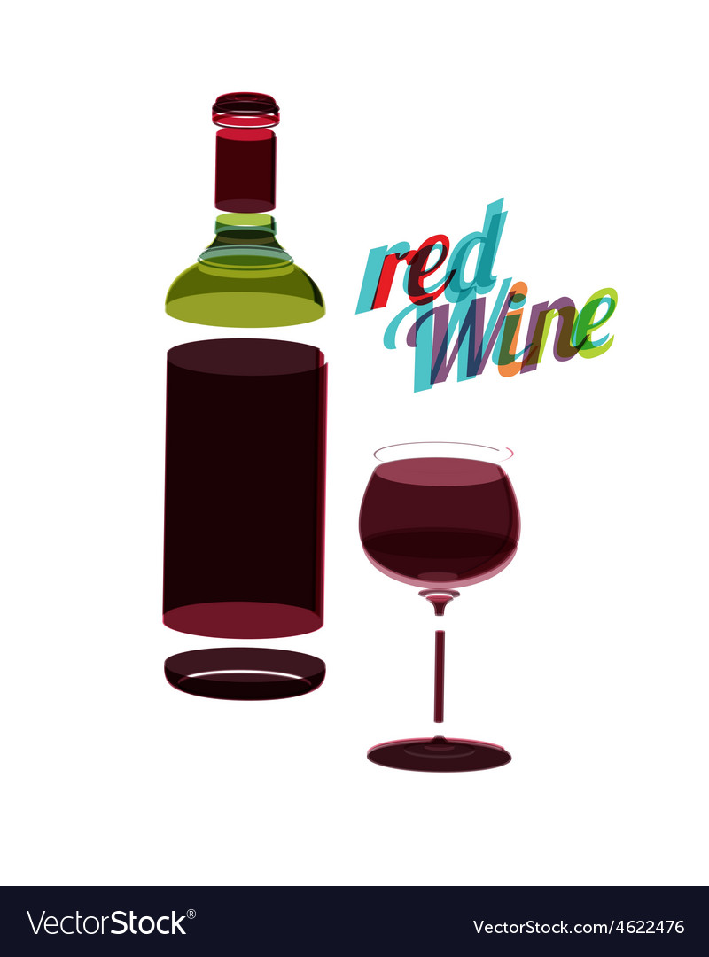 Red wine glass and bottle abstarct vintage poster vector | Price: 1 Credit (USD $1)