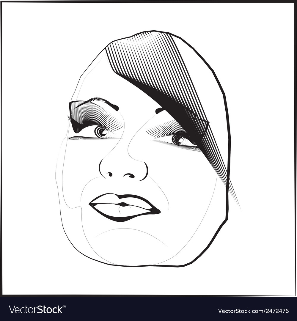 Sketch outline eyes lips face hair look obliquely vector | Price: 1 Credit (USD $1)