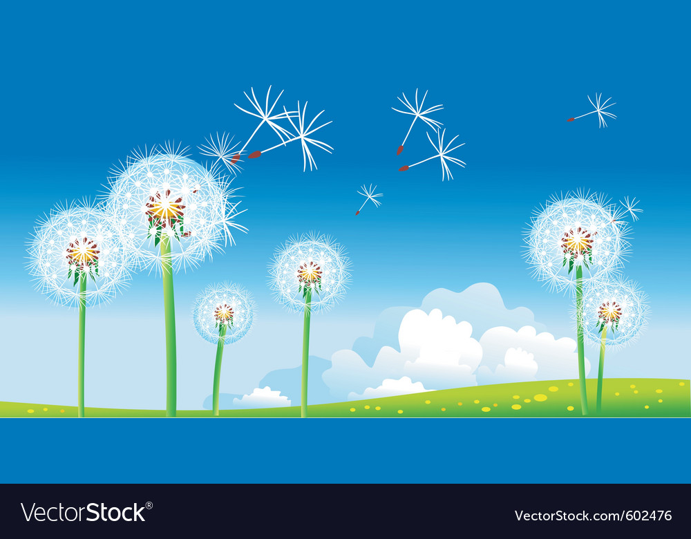 Spring landscape with dandelions vector | Price: 1 Credit (USD $1)