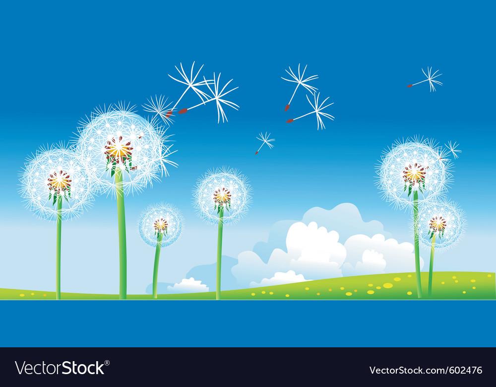 Spring landscape with dandelions vector | Price: 1 Credit (USD $1)