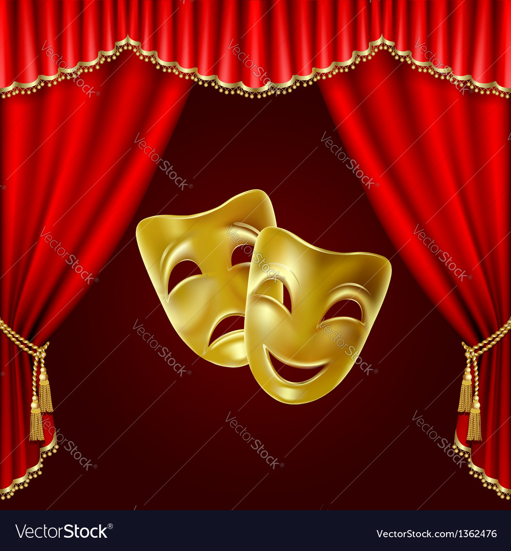 Theatrical masks vector | Price: 1 Credit (USD $1)