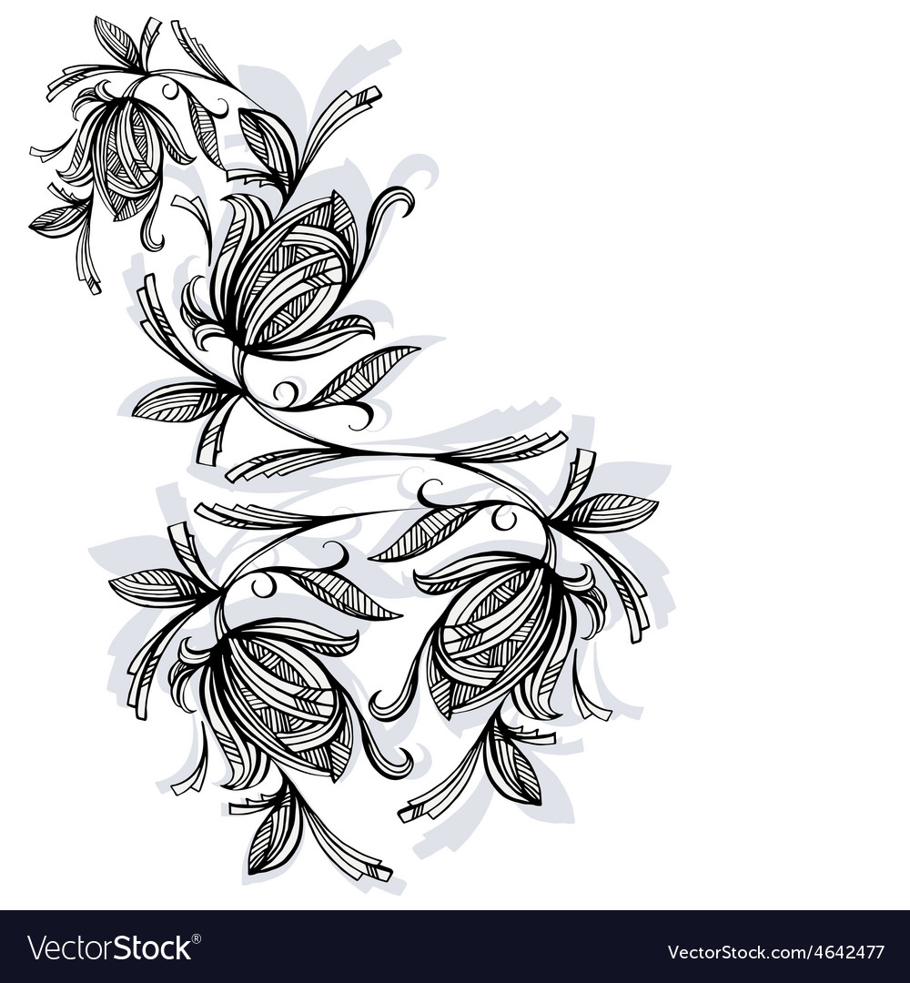 Floral pattern rose black and white vector | Price: 1 Credit (USD $1)