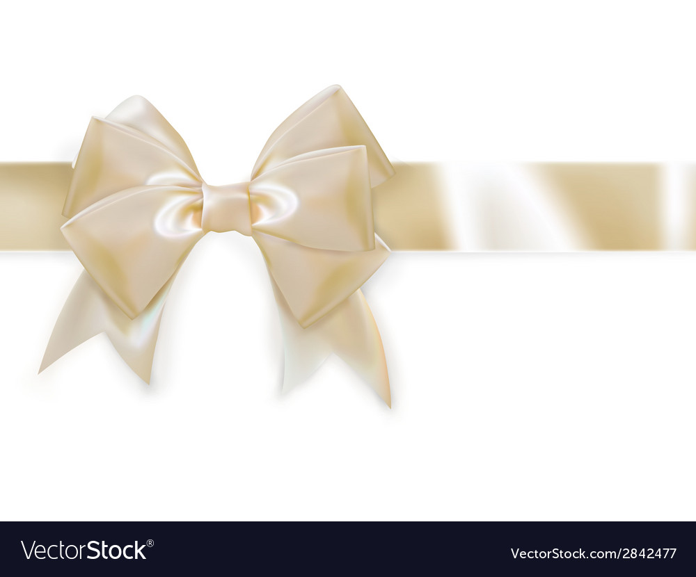 Gold ribbon with bow isolated on white eps 10 vector | Price: 1 Credit (USD $1)