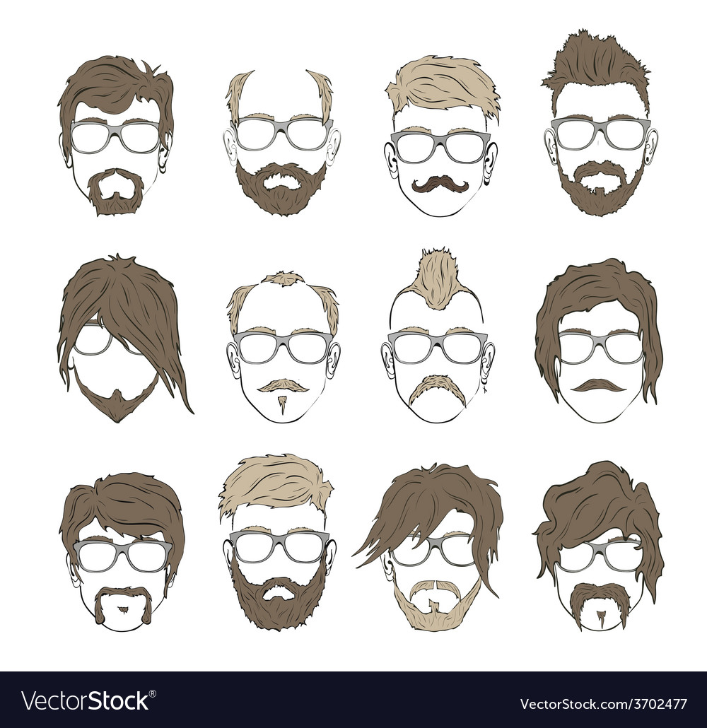 Hairstyles with a beard and mustache vector | Price: 1 Credit (USD $1)