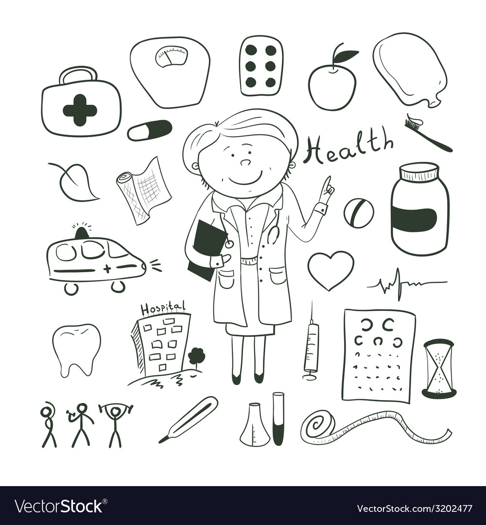 Health icons doodle ilustration woman doctor vector | Price: 1 Credit (USD $1)