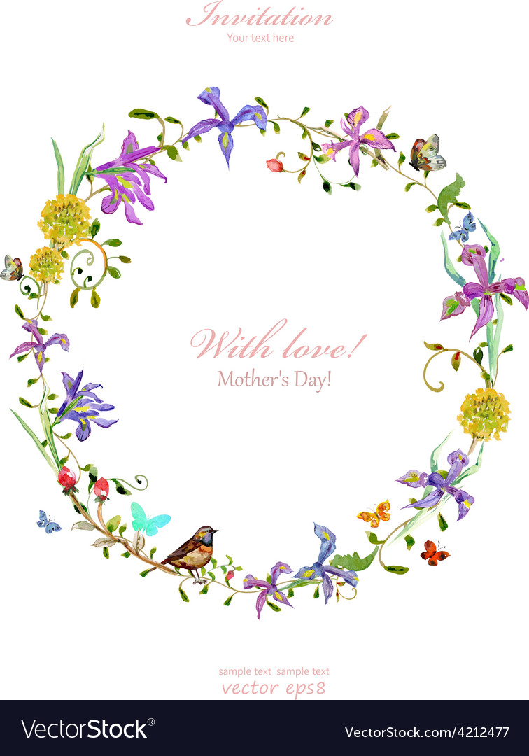 Invitation card with love mothers day watercolor vector | Price: 1 Credit (USD $1)