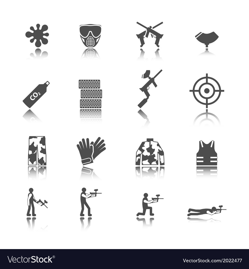 Paintball icon set vector | Price: 1 Credit (USD $1)