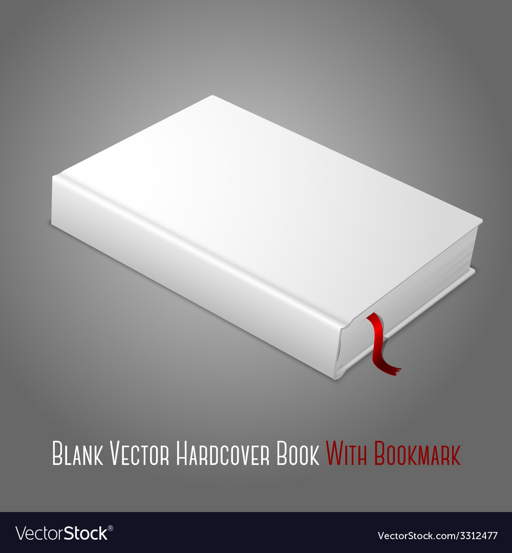 Realistic white blank hardcover book with red vector | Price: 1 Credit (USD $1)