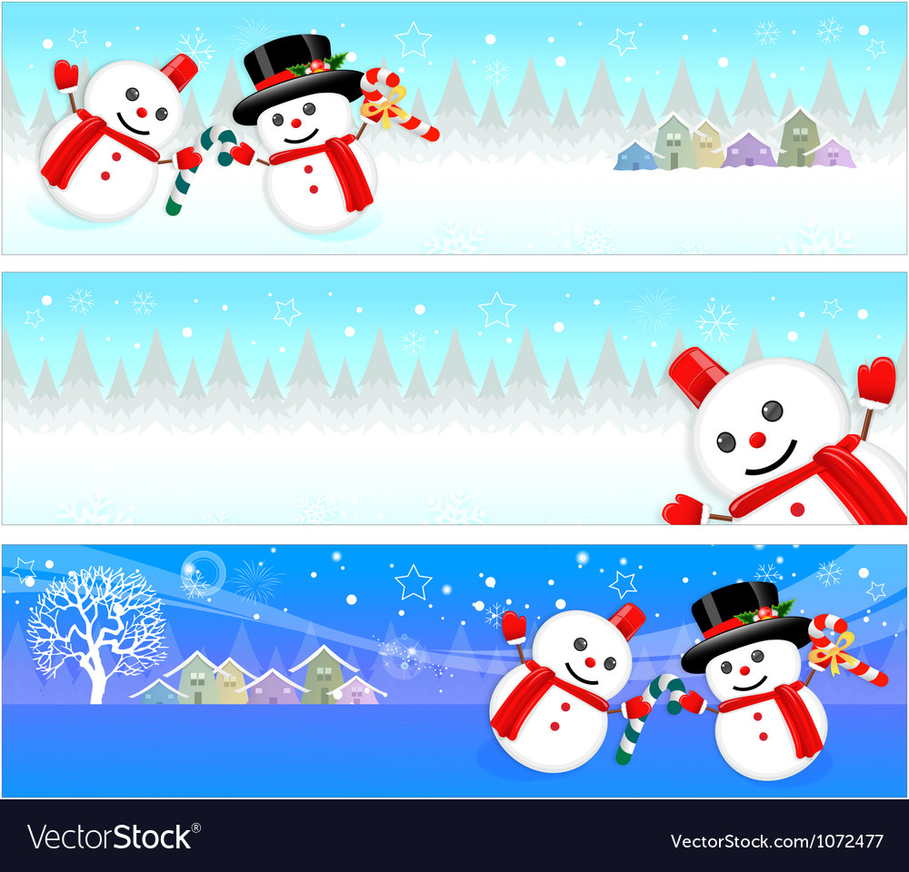 Snowman mascot using a variety of banner designs vector | Price: 3 Credit (USD $3)