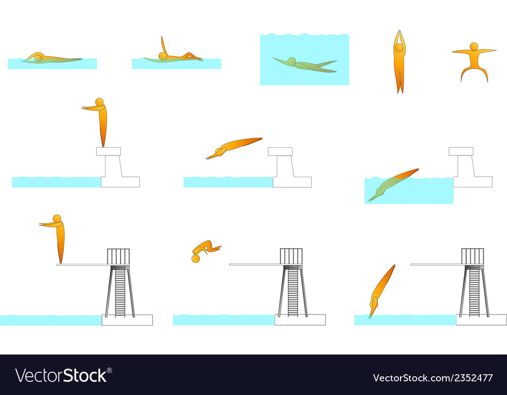 Swimming human sport silhouettes vector | Price: 1 Credit (USD $1)