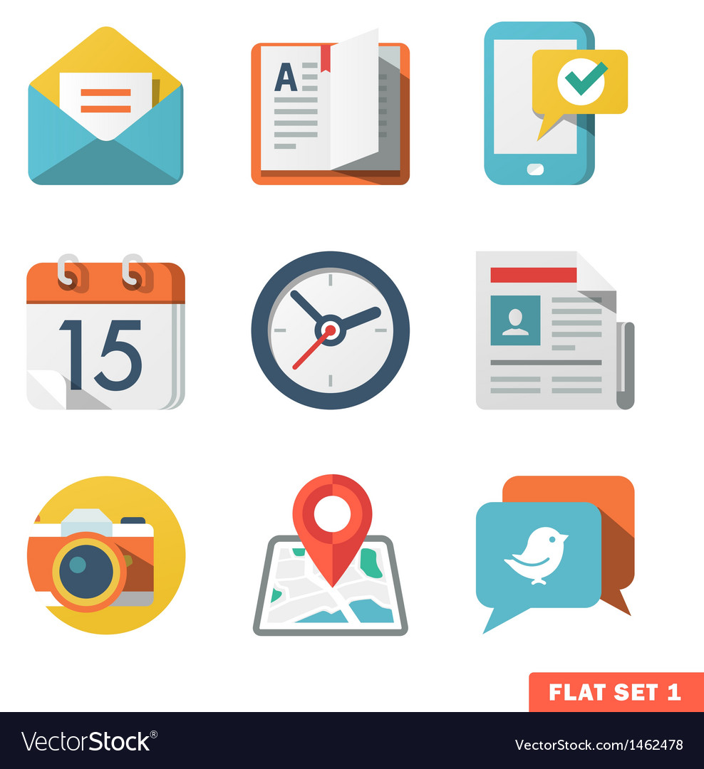 Basic flat icon set for web and mobile application vector | Price: 1 Credit (USD $1)