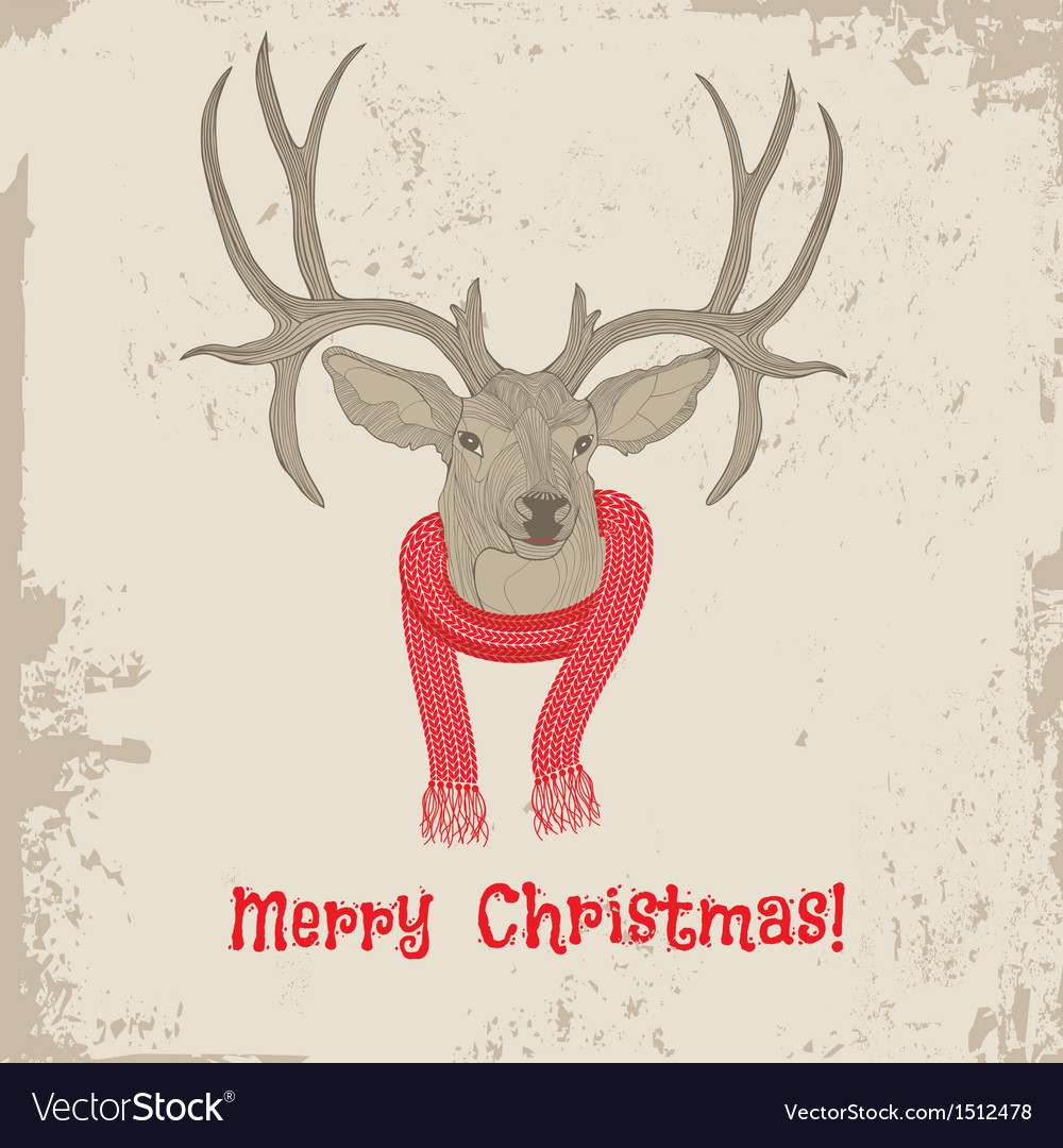 Deer vintage christmas card animal vector | Price: 1 Credit (USD $1)