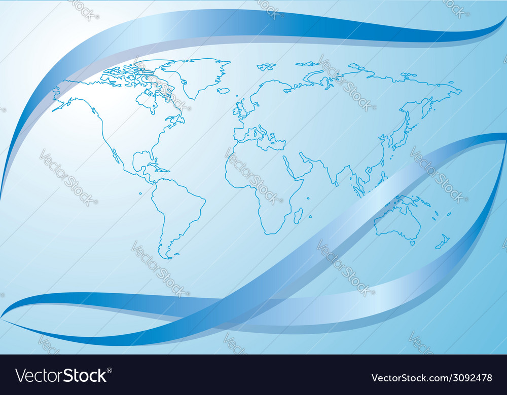 Light blue background with contour of world map vector | Price: 1 Credit (USD $1)