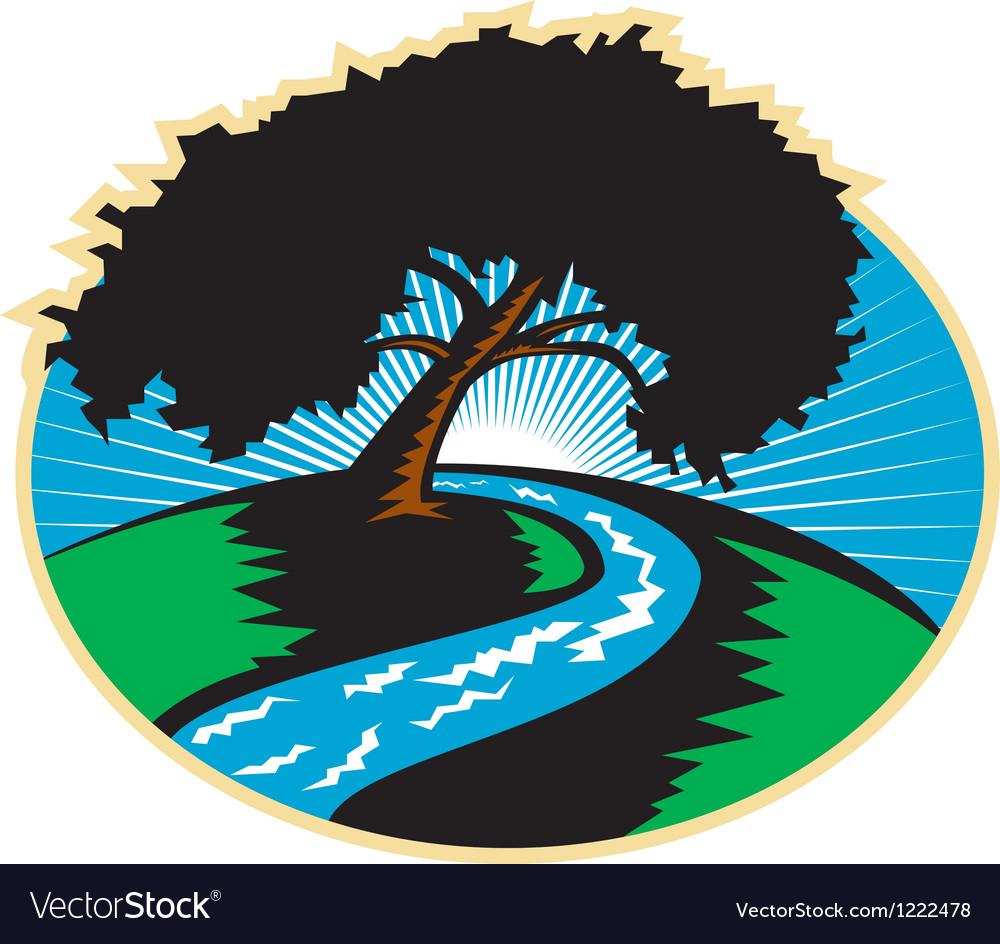Pecan tree winding river sunrise retro vector | Price: 1 Credit (USD $1)