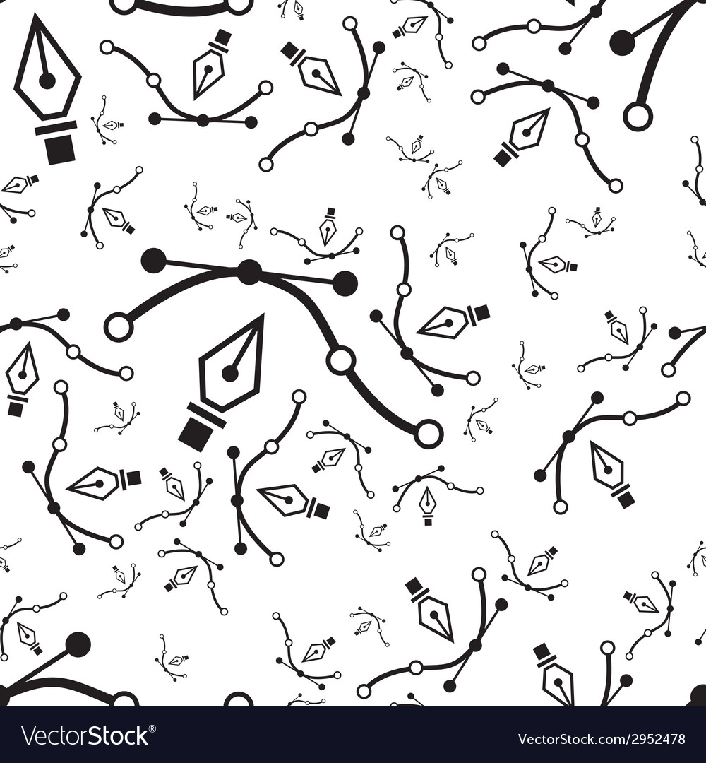 Pen tool seamless pattern vector | Price: 1 Credit (USD $1)