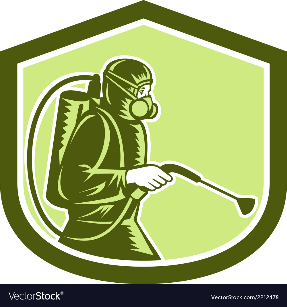Pest control exterminator spraying shield retro vector | Price: 1 Credit (USD $1)