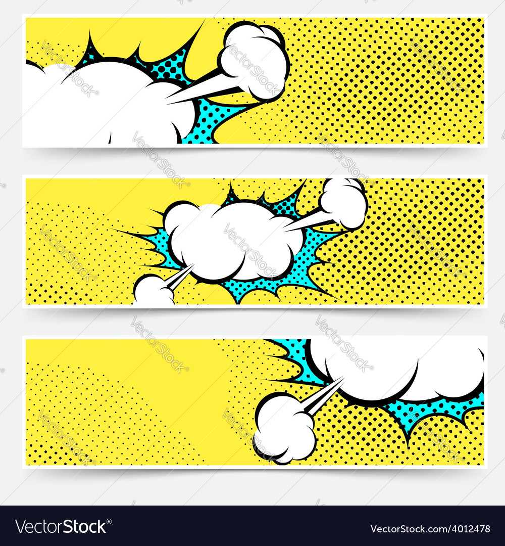 Pop-art comic book explosion card collection vector | Price: 1 Credit (USD $1)