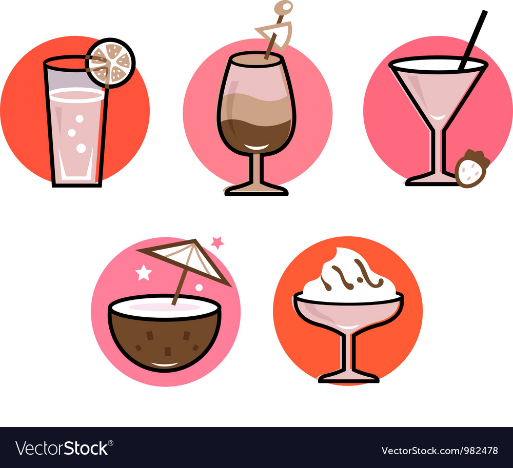 Retro drinks set isolated on white - pink and red vector | Price: 1 Credit (USD $1)