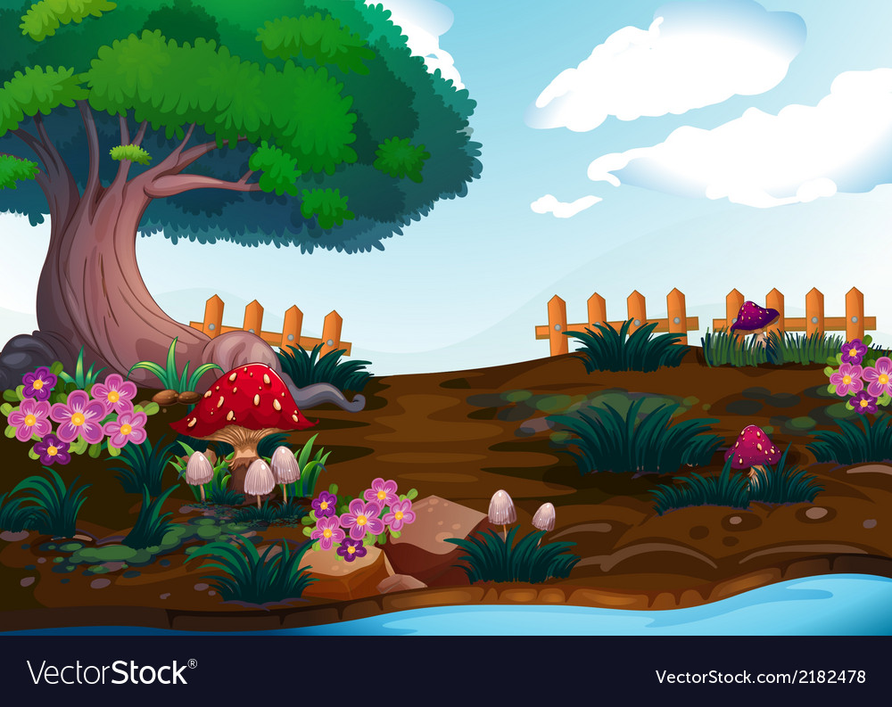 Small plants near the giant tree vector | Price: 3 Credit (USD $3)