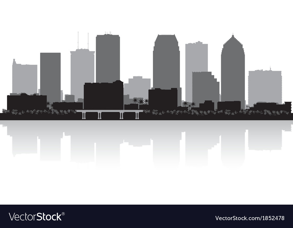 Tampa florida city skyline silhouette vector | Price: 1 Credit (USD $1)