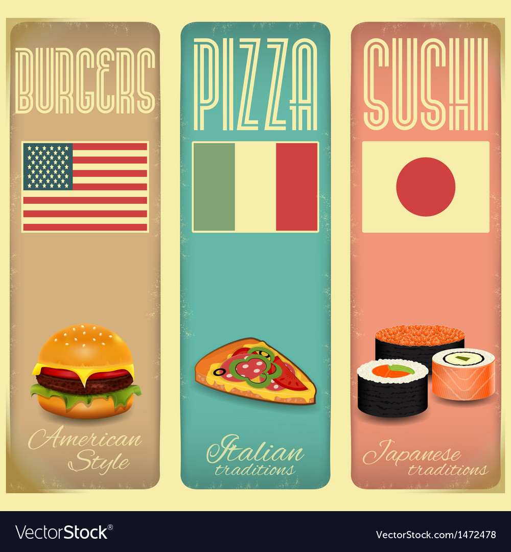 Vintage menu card for fast food vector | Price: 1 Credit (USD $1)