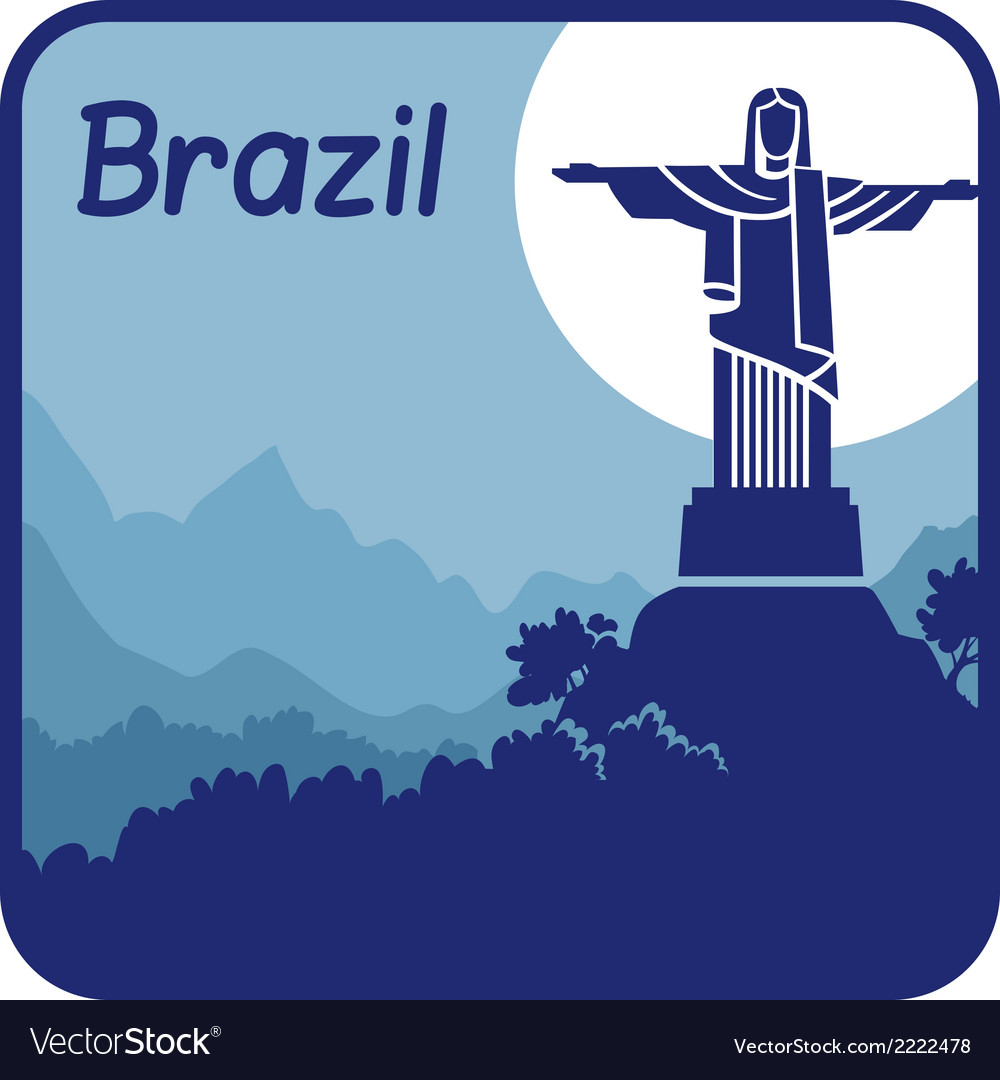 With christ the redeemer in brazil vector | Price: 1 Credit (USD $1)