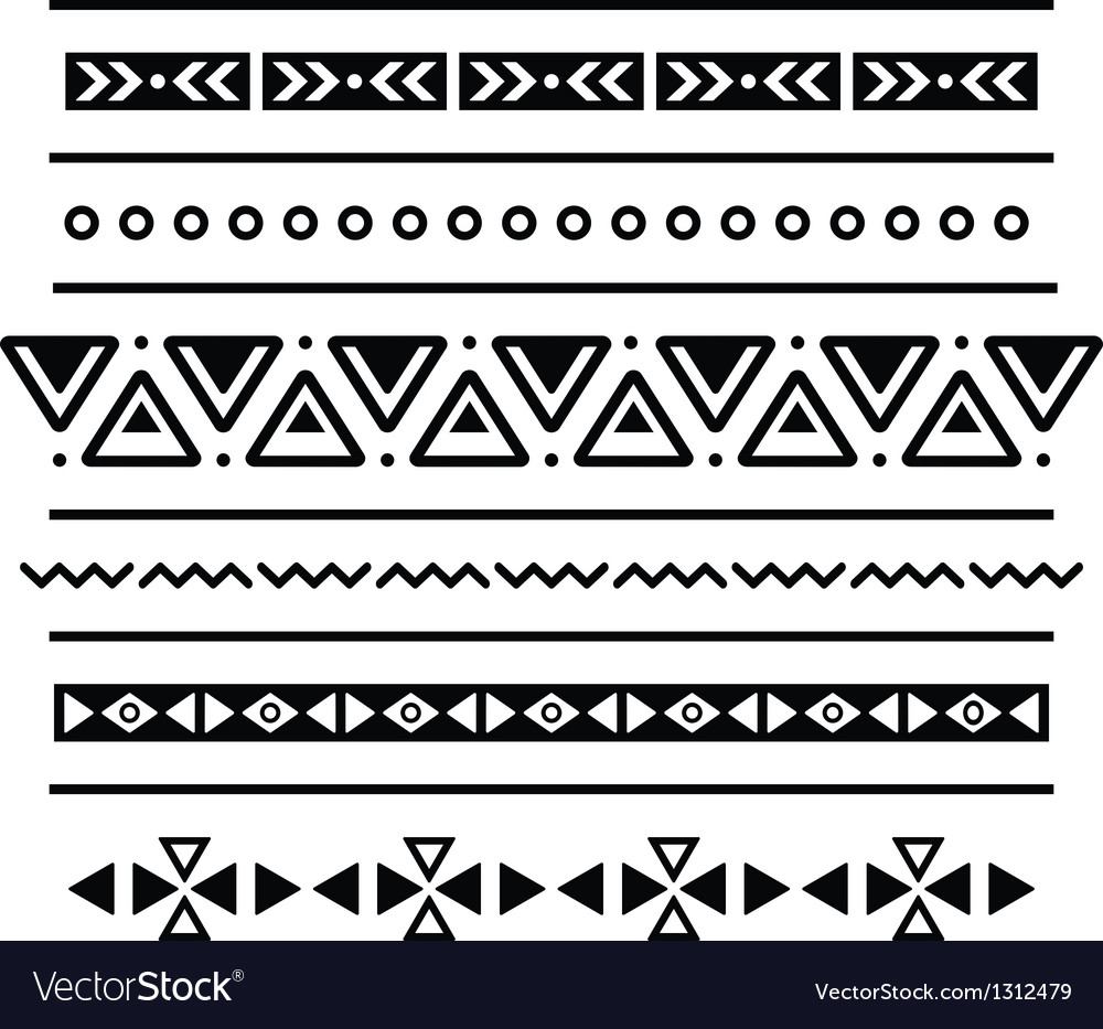 Aztec seamless pattern tribal black and white bac vector | Price: 1 Credit (USD $1)