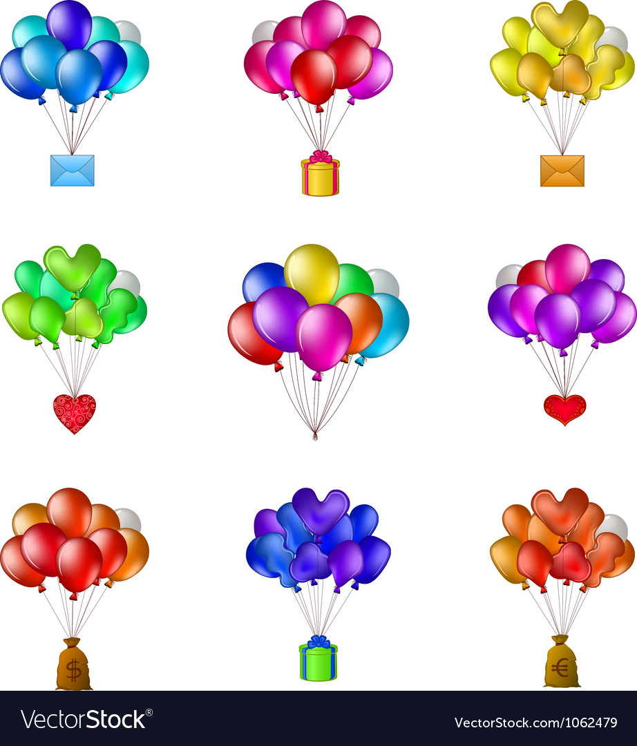 Balloons bunches set vector | Price: 1 Credit (USD $1)