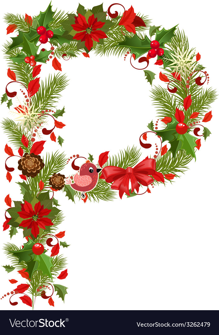 Christmas floral tree letter p vector | Price: 1 Credit (USD $1)